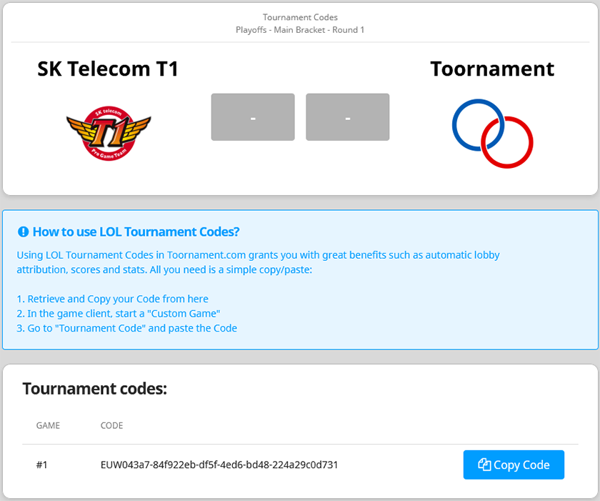 how to get tournament codes for lol