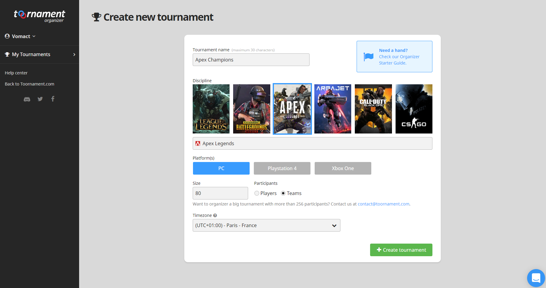 Apex Legends - Create your Tournament - Toornament Knowledge